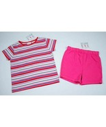 TKS GIRLS SIZE 4 4T NWT SHIMMERY PINK STRIPED TOP & PINK SHORTS NEW STRIPES - $11.87