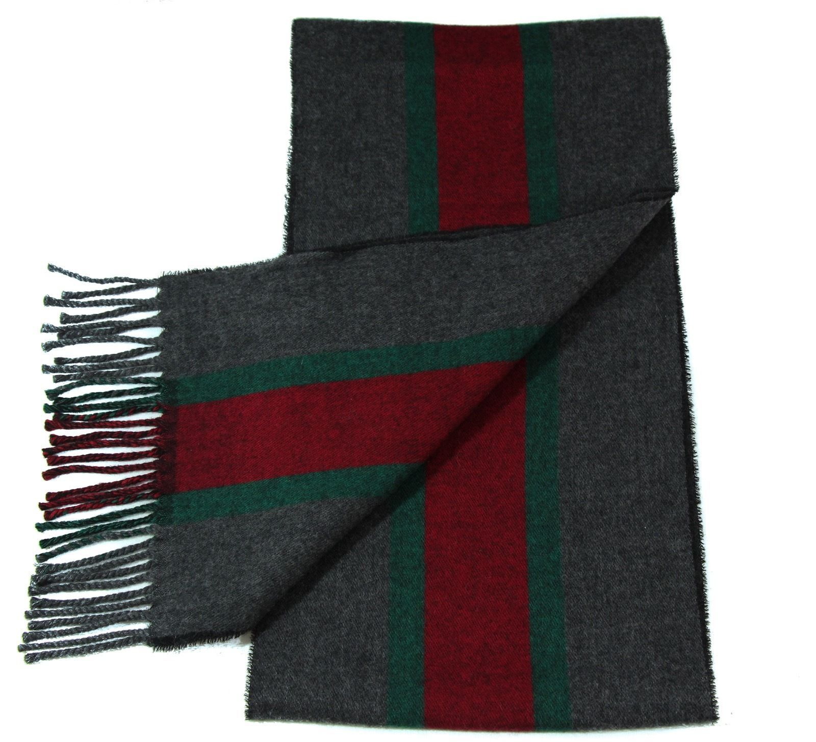 NWT Gucci 319956 Unisex Green, Red, Green Webstripe Wool Scarf, Multicolor