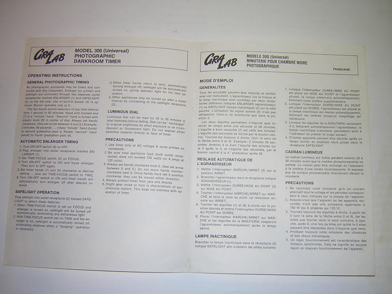 GRA LAB Model 300 Photographic Darkroom Timer Instruction Sheet