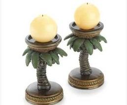Pair holders Island  Palm Tree ball candle Cand... - $9.49