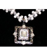 Ornate Goth Pendant Necklace Faux Pearls Silver tone Setting - $19.99
