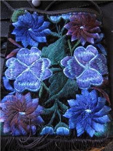 Velvet Embroidered Floral Handbag *purse clutch evening