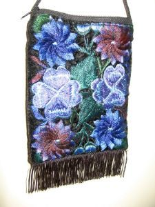 Velvet Embroidered Floral Handbag *purse clutch evening