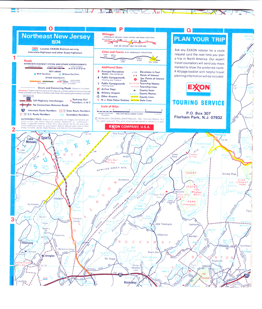 New Jersey State Map by Exxon Touring Service 1974