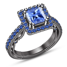 Black Gold Plated 925 Silver Princess Cut Blue Sapphire Engagement Weddi... - $89.99