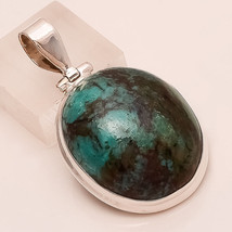 Natural Blue Persian Turquoise Gemstone Sterling Silver Pendant Vintage Jewelry - $26.97