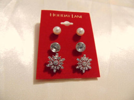Holiday Lane Silver Tone Snowflake Trio Stud earrings CHR111 - $11.51