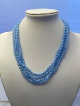 "7mm Knotted Blue Crystal Necklace 76"" Super Long Flapper Length - $31.68"