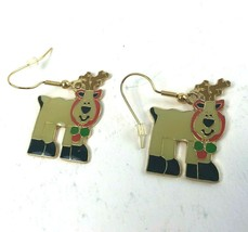 "Klein International Enamel Christmas Reindeer Pierced Earrings 1.5"" Gol... - $11.26"