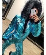 Blue Metallic Skisuit Snowsuit Ski Anzug Suit Shiny Glanz Nylon Jumpsuit... - $149.00