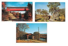 3 Vermont Covered Bridges Chiselville Bennington Pittsford Vintage Postc... - $8.99