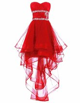 Women's Organza High Low Beaded Evening Dress Sexy Prom Dresses Party Go... - $108.00