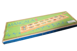 Schylling Mancala African Stone Game Solid Wood Glass Stones Ages 6+ Ori... - $23.76