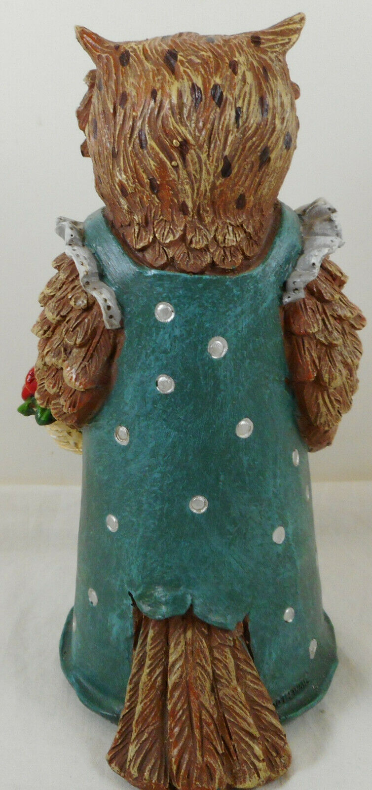 "Anthropomorphic Owl Figurine 9"" Resin Green Dress image 3"