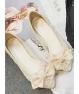 Champagne Lace Wedding Shoes/ Beige Lace Flat Shoes/ Champagne Lace Flat... - £24.42 GBP