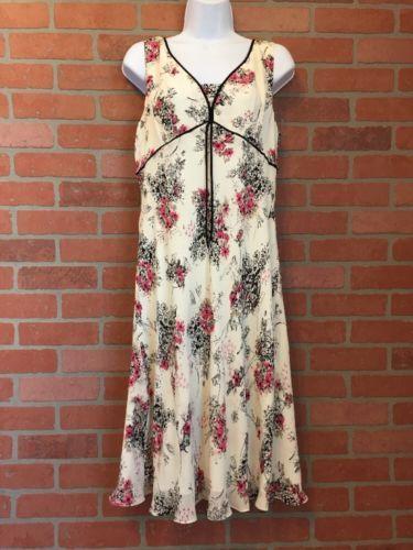 Ann Taylor Loft Silk Dress Size 12 Cream Black & Pink Floral Print NWT $99 (G46)
