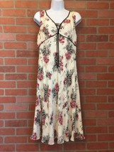 Ann Taylor Loft Silk Dress Size 12 Cream Black & Pink Floral Print NWT $... - $49.49