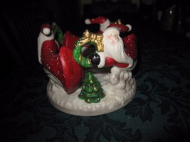 Christmas Flying Santa Claus Circle Votive Candle Holder - $8.56