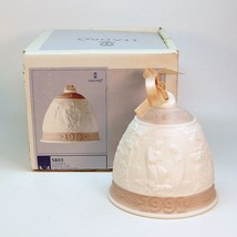 1991 Lladro 5803 Christmas Bell Bell white pink bisque porcelain - $17.81