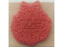 Christmas Ornament Rubber Mounted on Wood Stamp image 2