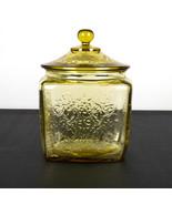 Federal Madrid Amber Cookie Jar with Lid, Original Yellow Depression Gla... - $39.20