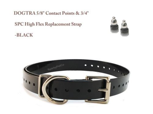 """DOGTRA 5/8"""" Contact Points & 3/4"""" SPC High Flex Replacement Strap - Black"""