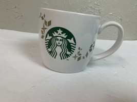 Starbucks 2013 Holiday Mug Cup White with Gold/Silver Tone Geometric Sno... - $4.95