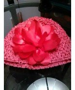 Crochet Newborn Beanie with fabric flower accent in hot pink - $5.99