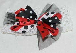 Unbranded White Headband Large Polka Dot Bow Red White and Black image 4