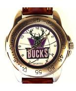 Milwaukee Bucks NBA Sportivi New Unworn Mans Vintage Leather Band Watch ... - $87.96