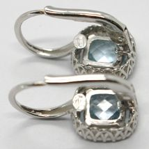 18K WHITE GOLD LEVERBACK EARRINGS CUSHION BLUE TOPAZ, ZIRCONIA FRAME, ITALY MADE image 5