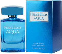 Perry Ellis Aqua 3.4 Oz Eau De Toilette Spray By Perry Ellis New In Box ... - $34.99