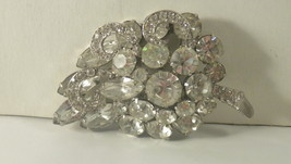 Unsigned Weiss Rhodium Leaf Grapes Crystal Clear Rhinestones Icing brooc... - $28.00