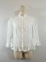 BCBG Women's Top Size 5 White color Button Front Long Sleeve - $7.92