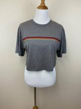 Fabletics M Jade Boxy Crop Tee Shirt Top Gray Rainbow Stripe Medium - $24.99