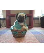 Handpainted Decorative Pug In A Blanket And Bas... - $9.99