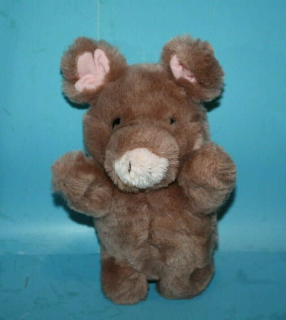 "Primary image for RUSS Stuffed Animal ROSEBUD PIG 9"" Brown Plush Soft Toy Pink Yarn Tail 452 Korea"