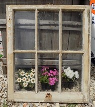 Old Wood Window Frame 6 Glass Panes Rustic Farm House Decor Cottage 28.5... - $99.00