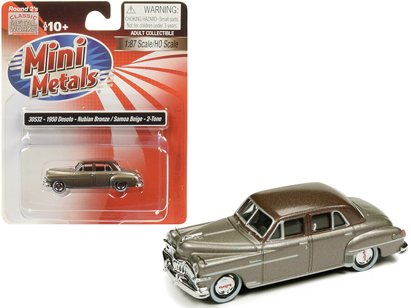 1950 DeSoto Nubian Bronze with Samoa Beige Top 1/87 (HO) Scale Model Car by Clas
