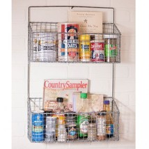 Country new Large distressed wire 2 basket wall organizer rack / nice - $54.81