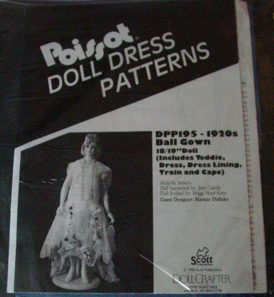"""Pattern Poissot #195 Ball Gown 1920s for 18-19"""" Lady doll clothes"""