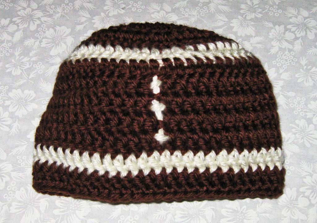 Newborn size football hat 1
