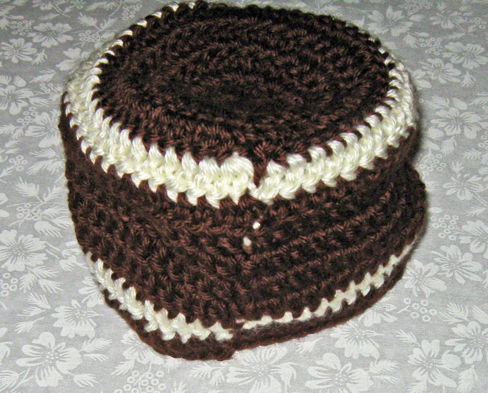 Crochet Baby Football Hat, Newborn, Beanie type, Brown & off white, 0 to 3 mos.