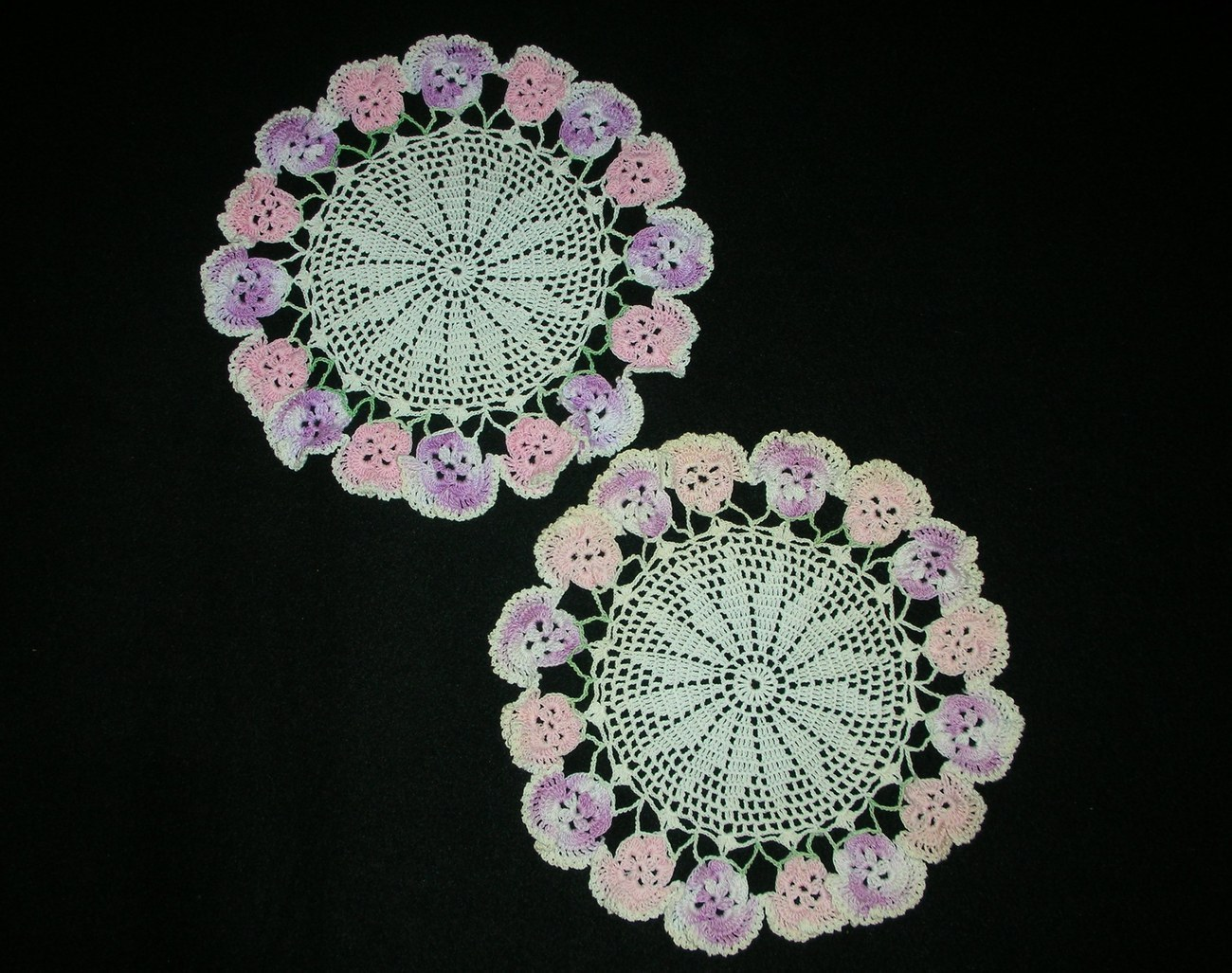 Ecru Doily with Pansy Flower Trim Hand Crochet Set of Two