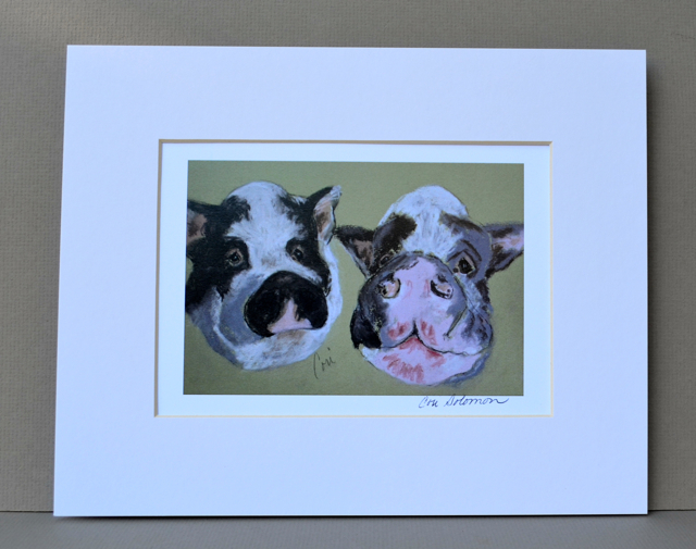 Primary image for Pot Bellied Pig Art Print Signed Matted Solomon