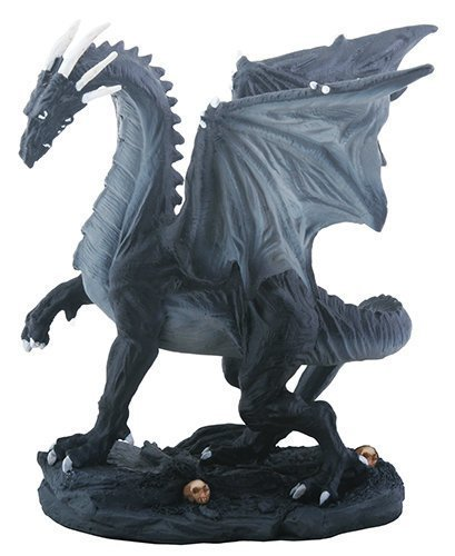 Primary image for YTC Small Black and Grey Midnight Medieval Dragon Decorative Figurine