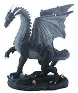 YTC Small Black and Grey Midnight Medieval Dragon Decorative Figurine - £17.96 GBP