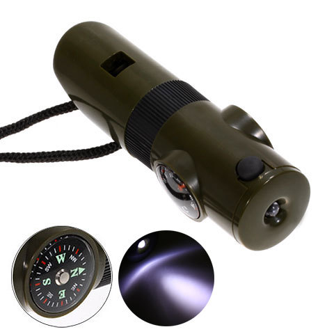 Multifunction Thermometer and Compass Whistle With LED Torch