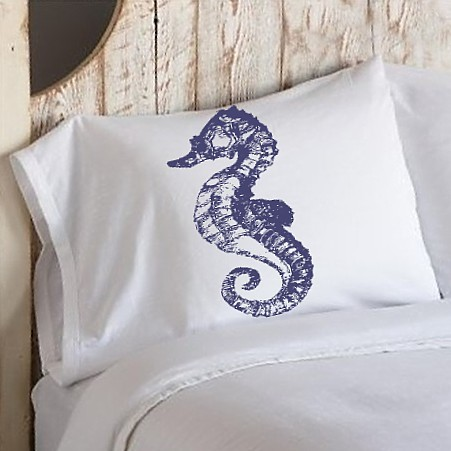 Navy Blue Sea Horse White Nautical Pillowcase cover pillow