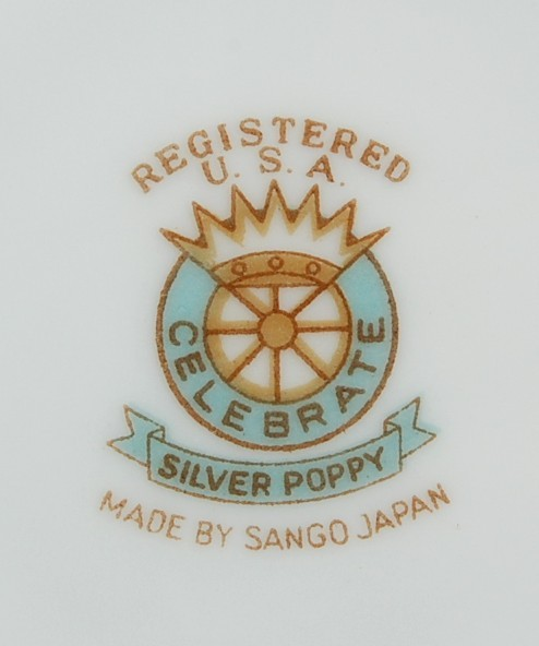 Sango Celebrate Silver Poppy Saucer Smooth Rim Gold Trim